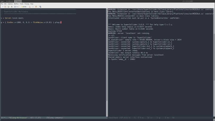 Emacs interfacing with SuperCollider